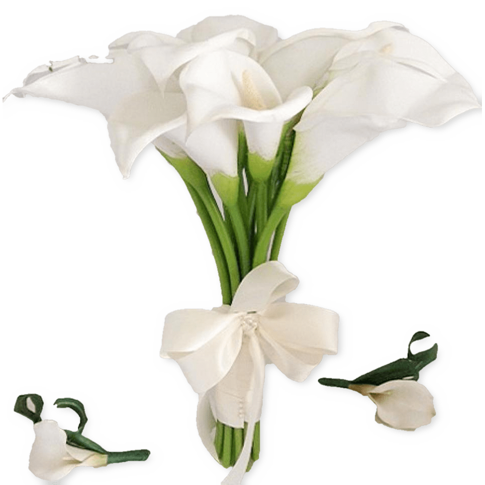 White calla lily bouquet with 2 bouttonieres christines creatives white calla lily bouquet izmirmasajfo